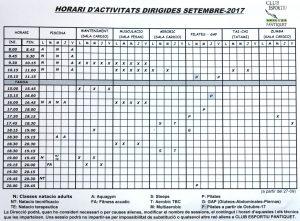 horari activitats2017 Gimnàs Pantiquet Mollet
