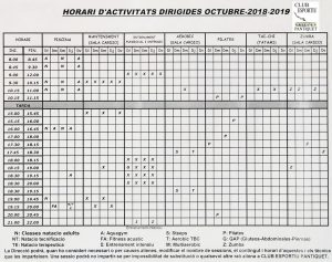 horari 2018-2019 Club Esportiu Pantiquet