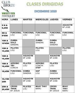Club Esportiu Pantiquet Horario mes diciembre 2020
